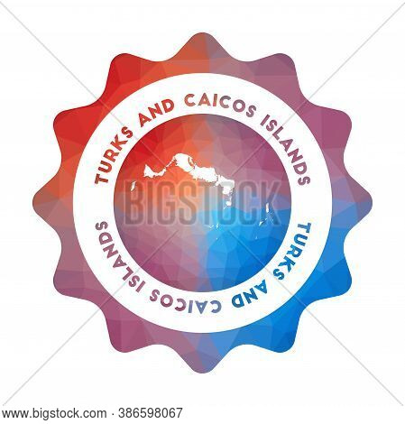 Turks And Caicos Islands Low Poly Logo. Colorful Gradient Travel Logo Of The Island In Geometric Sty