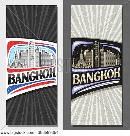 Vector Layouts For Bangkok, Decorative Leaflet With Outline Illustration Of Urban Bangkok City Scape