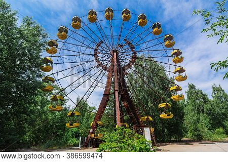 Attraction Ferris Wheel In Ghost Town Pripyat, Chernobyl Exclusion Zone