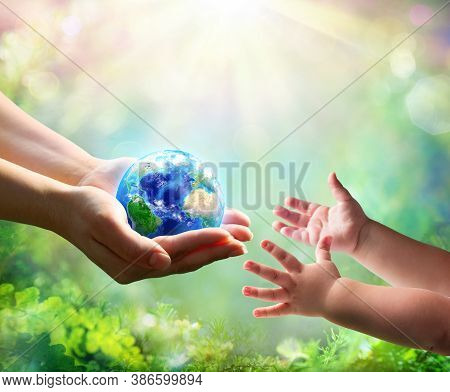 Mother Give Blue Earth In Daughter Hands - Elements Of This Image Furnished By Nasa - Contain 3d Ill
