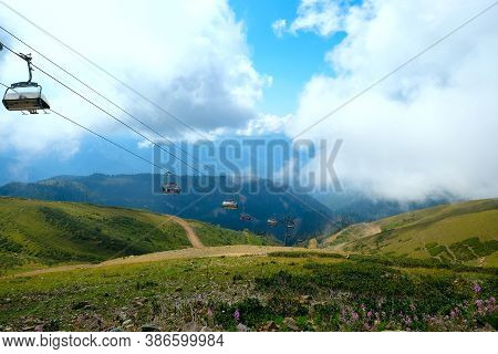 Krasnaya Polyana, Sochi, Krasnodar Territory 16.09.20 Top Of The Caucasus Mountains Cable Car Betwee