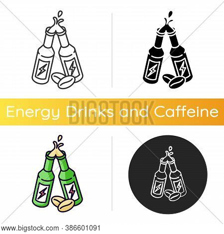 Caffeinated Alcoholic Drink Icon. Energy Beverage With Coffee Ingredient. Bottled Product Toast. Boo