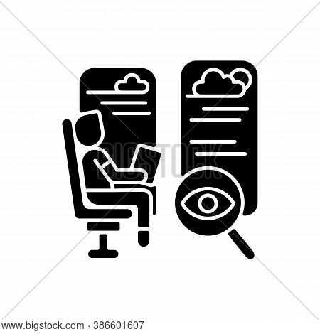Observation Car Black Glyph Icon. Train Seats With Good View. Comfortable Railroad Transportation Se
