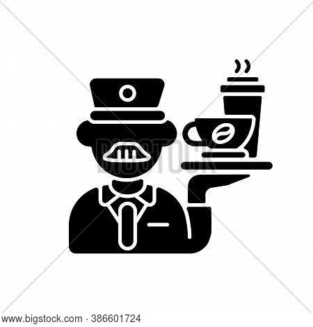 Stewart Black Glyph Icon. Railway Service, Comfortable Railroad Travel Silhouette Symbol On White Sp