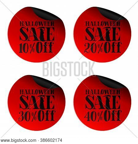 Red Halloween Sale Stickers Set With Scytheman 10, 20, 30, 40 Percent Off. Vector Illustration
