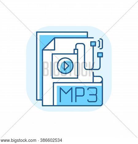 Mp3 Audio File Blue Rgb Color Icon. File Extension. Downloading Song. Storing Music. Lecture, Audiob