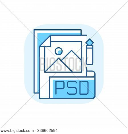 Psd File Blue Rgb Color Icon. Layered Image File Format. High Quality Graphics Data. Digital Image.