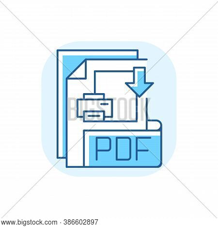 Pdf File Blue Rgb Color Icon. Portable Document Format. Text Formatting And Images, Multimedia Eleme