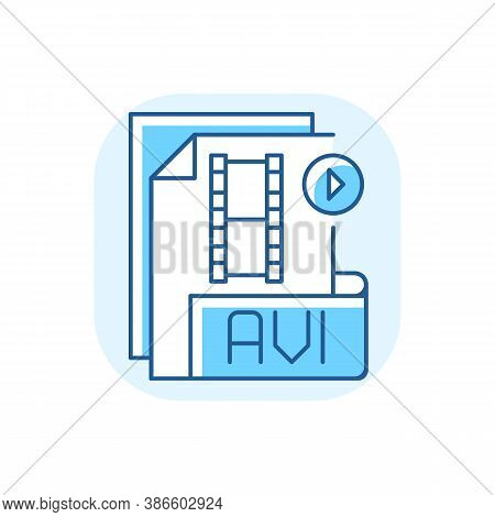 Avi File Blue Rgb Color Icon. Audio Video Interleave. Filename Extension. Audio And Video Data. Mult