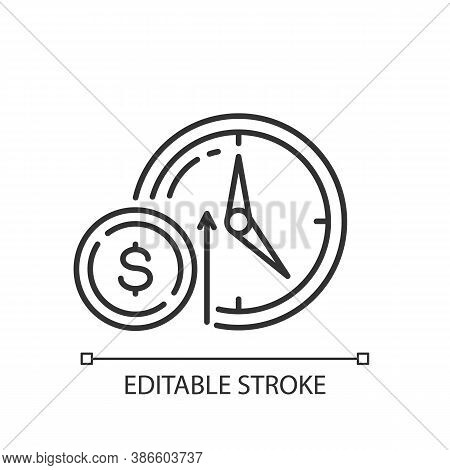 Numismatic Value Linear Icon. Monetary Gain. Coin With Dollar Sign. Market Income. Thin Line Customi