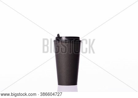 Disposable Black Blank Paper Coffee Cup Isolated On White Background. Coffee To Go, Takeaway Hot Dri