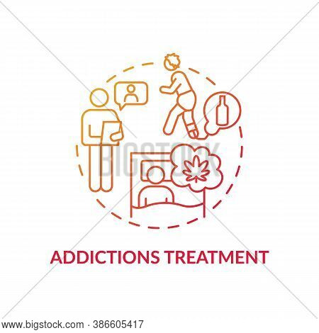 Addictions Treatment Concept Icon. Drug And Alcohol Treatment Idea Thin Line Illustration. Chemical