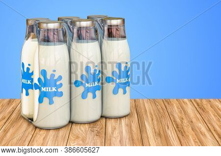 Package Of Glass Milk Bottles In Shrink Film On The Wooden Table. 3d Rendering