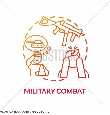 Military Combat Concept Icon. Posttraumatic Stress Disorder Idea Thin Line Illustration. Veterans Is