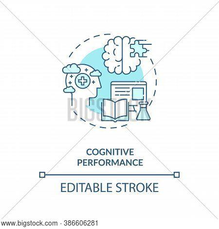 Cognitive Performance Concept Icon. Energetics Effects Idea Thin Line Illustration. Enhanced Mental