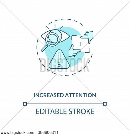 Increased Attention Concept Icon. Energetics For Concentration Idea Thin Line Illustration. Attentio