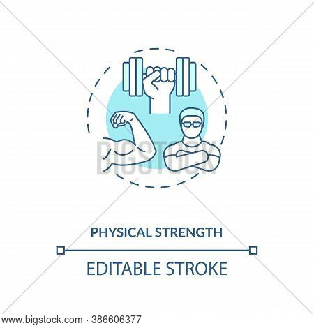 Physical Strength Building Concept Icon. Sports Energetics Idea Thin Line Illustration. Physical Con