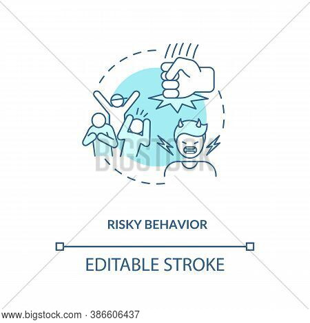 Risky Behavior Concept Icon. Energy Drinks Cause Mental Problems Idea Thin Line Illustration. Hazard