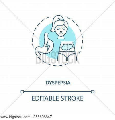 Dyspepsia Concept Icon. Stomach Problems Idea Thin Line Illustration. Discomfort In Upper Abdomen. U