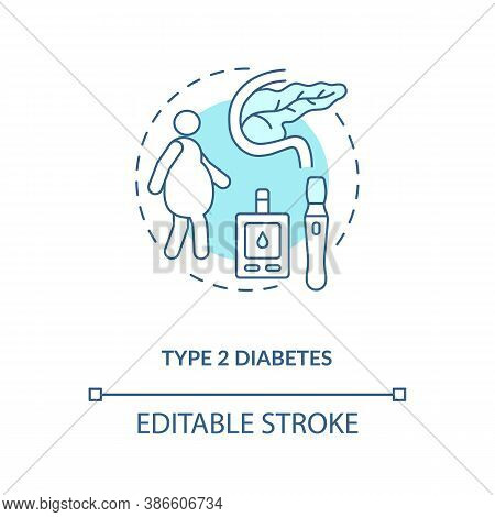 Type 2 Diabetes Concept Icon. Blood Sugar Spike Idea Thin Line Illustration. Increased Thirst, Frequ