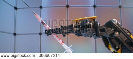 Medical syringe in the   robot arm, Model of industrial robot manipulator, robot hand  with medical syringe