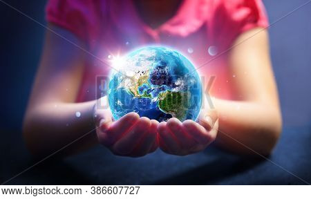 Child Hold World - Magic Of Life - Earth Day Concept - Elements Of This Image Furnished By Nasa - Co