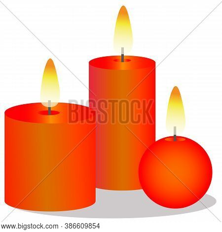 Burning Christmas Candles. Vector Illustration Of A Bright Gradient Candle. Heat And Glow From The F