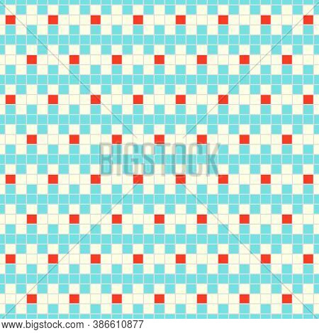 Seamless Surface Pattern Design. Repeated Color Jagged Blocks Lines On White Background. Heraldry Mo