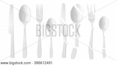New And Broken Plastic Cutlery Isolated On White Background. Vector Realistic Set Of Cracked White F