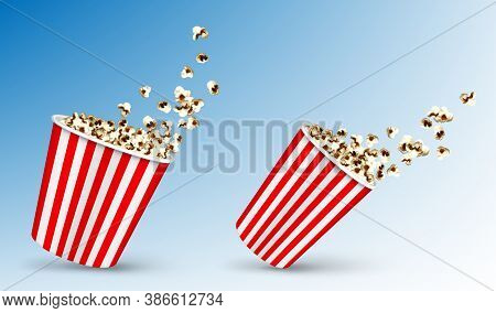 Pop Corn Flying Out Of Carton Disposable Striped Package, Popcorn Fast Food Snack In Motion In Red A