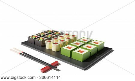 Sushi Set 3d Rendering Low Poly Model. Sushi Rolls And Chopsticks On White Background. Japanese Food