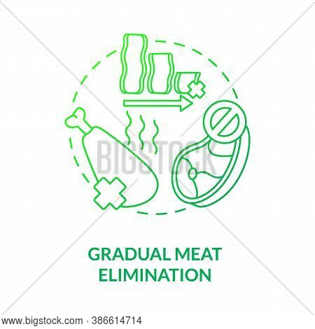 Gradual Meat Elimination Concept Icon. No Meat In Daily Ration. Healthy Foods Ideas. Becoming A Vege