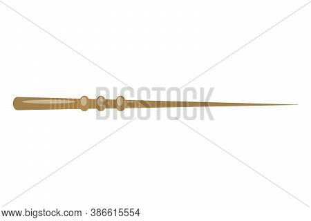 Magic Wand Isolated On White Background. Magic And Magical Object. Wizard Tool. A Sticker On The The