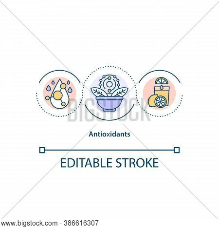 Antioxidants Concept Icon. Natural Defense System Idea Thin Line Illustration. Excretion Of Toxins.
