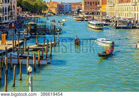 Venice, Italy, September 13, 2019: Grand Canal Waterway With Boats And Vaporettos Sailing, Yachts Do