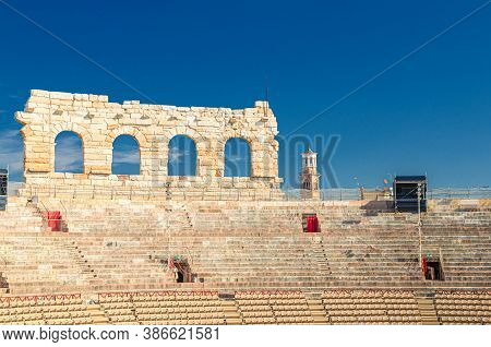 The Verona Arena Interior Inside View With Stone Stands. Roman Amphitheatre Arena Di Verona Ancient