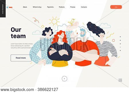 Business Topics - Crew, Our Team - Web Template, Header. Flat Style Modern Outlined Vector Concept I