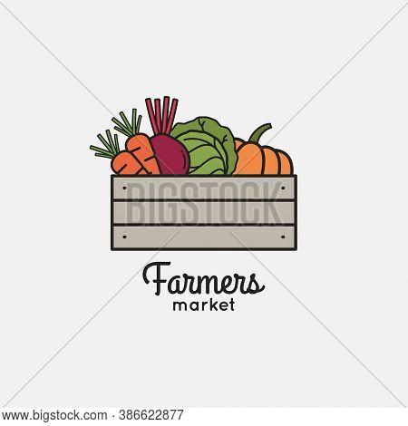 Vegetables Basket With Organic Farm Eco Vegetables