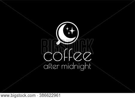 Vector Logo Coffee After Midnight. Moon And Stars In A Cup. Design For Coffee Products, Cafes, Resta