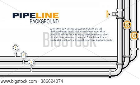 Gas Pipeline Background. Pipes Installed In Parallel, Taps And Manometers. 16:9 Aspect Ratio. Vector