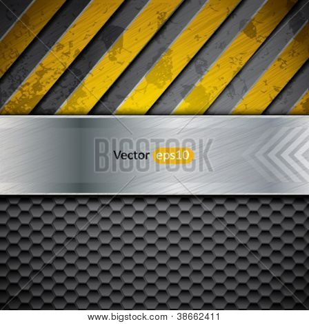 Metal background with yellow warning stripes, vector