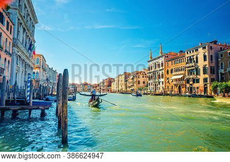 Venice Cityscape With Grand Canal Waterway, Venetian Architecture Colorful Buildings, Gondolier On G