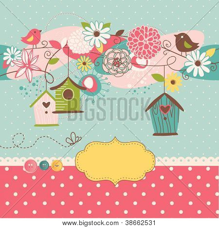 Beautiful Spring background with bird houses, birds and flowers