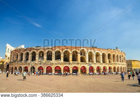 Verona, Italy, September 12, 2019: Verona Arena In Piazza Bra Square. Roman Amphitheatre Arena Di Ve