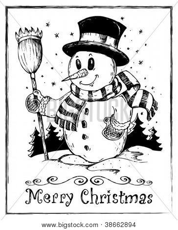 Winter snowman theme drawing 2 - vector illustration.