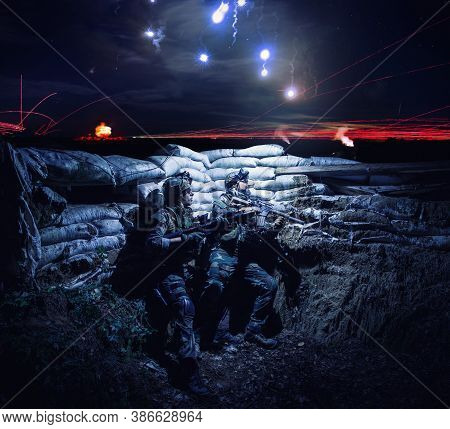 Army Soldiers Armed Assault Rifles, Hiding In Trench During Night Action. Navy Seals Team Fighters,