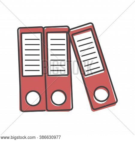 Vector Icon Archive Folder Ring Binders. Symbol Of Office Life On Cartoon Style On White Isolated Ba