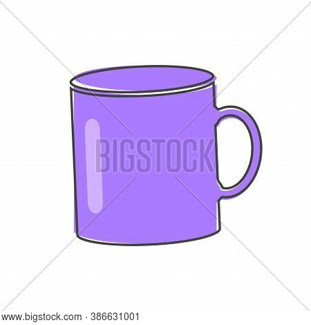 Vector Icon Disposable Cup Of Coffee. Stale Coffee Drink In The Dishes Cartoon Style On White Isolat