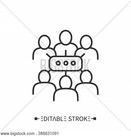 Discussion Group Line Icon. Workshop Group. Teamwork. Brainstorm. Motivational, Educational Course O
