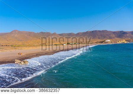 Panoramic View Of Playa Los Escullos In The Natural Park Of Cabo De Gata, Nijar, Andalucia. Spain, M